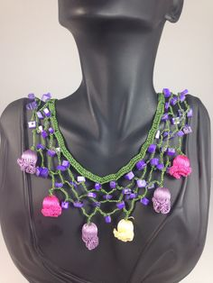 Handmade multi color crochet necklace. Need a price or any question on Eliz Bijoux design necklaces please email to me. Info@elizbijoux.com