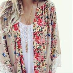 2015 Womens Floral Blouse Long Sleeve Chiffon Kimono Cardigan Tops casual Coat #Handmade #Blouse #Casual