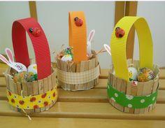 Easter Crafts For Kids, Diy For Kids, Diy Cardboard Furniture, Popsicle Crafts, Basket Crafts, Art N Craft, Easter Party, Egg Decorating, Baby Play