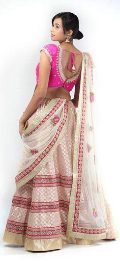 WHITE AND PINK FLORAL #LEHENGA - Indian #Wedding Lehenga