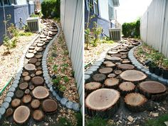 How to make a recycled wood slice garden pathway. Easy and gorgeous!