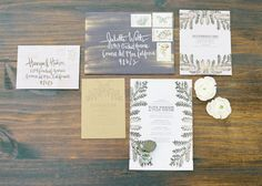 hand painted invitations, botanical patterns on textured paper