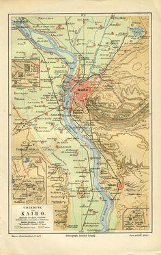 Antique Original map print of Kairo Cairo Egypt by RarePostCards Egypt Map, Cairo Pyramids, Cairo Egypt, Vintage Maps, Antique Maps, Horst Janssen, Color Crayons, Kairo, Dibujo