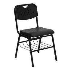 Charmant Flash Furniture Hercules Series 880 Lb. Capacity Black Plastic Chair With  Black Powder Coated Frame