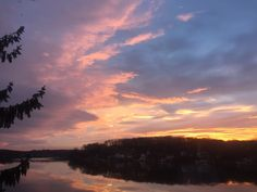 Byram Cove Sunset Fall 2015 by Larry Orlans