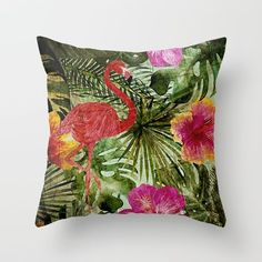 Tropical Vintage Exotic Jungle- Floral and Flamingo watercolor pattern on #Society6 Throw Pillow