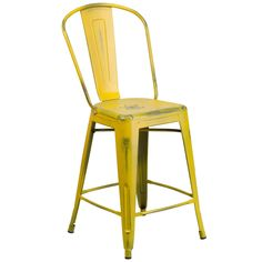 Flash Furniture Distressed Yellow Metal Stool [ET-3534-24-YL-GG]