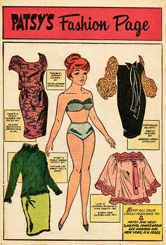 Marvel Comics, - Patsy's fashion page Comic Book Paper, Comic Books Art, Millie The Model, Cartoon Paper, Newspaper Paper, Paper Clothes, Paper People, Paper Dolls Printable, Doll Painting