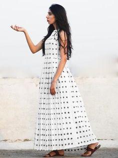 Ivory Black Long Sleeveless Handwoven Double Ikat Dress With Knife Pleats & Side Pockets - Casual Frocks, Casual Dresses, Fashion Dresses, Silk Dress, Dress Up, Fashion Sewing, Women's Fashion, Ikat, Cotton Dresses