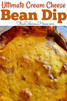 The BEST Cream Cheese Bean Dip Recipe out there! Made with refried beans, Rotel, and lots of cheese, this dip is a great make-ahead appetizers perfect as party food. Refried Bean Dip, Refried Beans, Cream Cheese Bean Dip, Easy Make Ahead Appetizers, Pinwheel Appetizers, Party Appetizers, Bean Dip Recipes, Easy Party Food, Thing 1