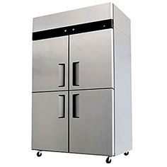 """Amazon.com: 48"""" 4 Door Refrigerator and Freezer Combo Stainless Steel Reach in Commercial Fridge/Freezer, 30.2 Cubic Feet, Dual Digital Thermostats, for Restaurant: Appliances"""