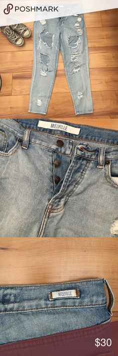 Brandy Melville jeans High waisted torn jeans. Super cute and in style. Open to negotiations only through the offer button. No trades. Brandy Melville Jeans Ankle & Cropped