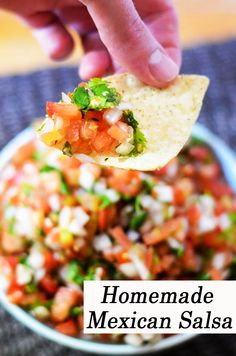 Enjoy fresh, authentic salsa with chips, on tacos, or in your favorite burrito for breakfast, lunch or dinner! Made with all fresh ingredients. Mexican Appetizers, Mexican Food Recipes, Dinner Recipes, Fancy Recipes, Ethnic Recipes, Mexican Dishes, Delicious Appetizers, Mexican Desserts, Mexican Meals