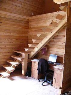 Here's how to trim a log Deck Stair Lights, Modern Stair Railing, Modern Stairs, Loft Staircase, Staircase Design, Wood Stairs, House Stairs, Building Stairs, Building A House