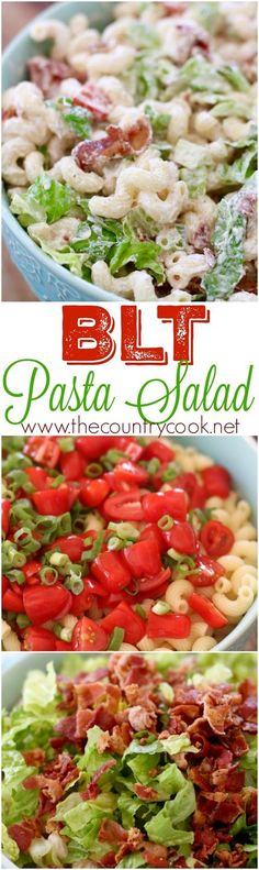 BLT Pasta Salad recipe at The Country Cook. Corkscrew pasta with lots of bacon and tomatoes and a yummy, creamy dressing. Perfect for all those Memorial Day and Fourth of July barbecues and potlucks! Pot Luck, Bacon Recipes For Potluck, Cold Dishes For Potluck, Cookout Side Dishes, Side Salad Recipes, Cookout Food, Barbecue Side Dishes, Side Dish Recipes, Pasta Recipes