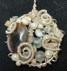 Freeform pendant- agate, golden stone, quartz &glass pearls