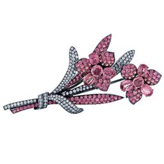 Pink Sapphire, Diamond, and Gold Flower Brooch | From a unique collection of vintage brooches at http://www.1stdibs.com/jewelry/brooches/brooches/
