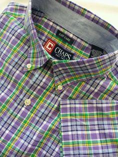 Chaps easy care mens short sleeve shirt size large purple plaid #Chaps #ButtonFront