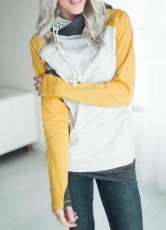 Double Hooded Sweatshirt - Mustard
