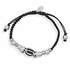 Adjustable Macrame Bracelet with Flower Design and Polished Sterling Silver Beads AzureBella Jewelry. $76.27. .925 sterling silver. Jewelry gift box included. Adjustable length