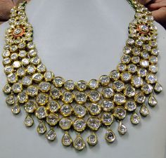 Antique 20 ct Gold Diamond necklace set kundan by TRIBALEXPORT ❥