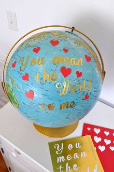 Easy DIY Globe Valentine - I am in love with Silhouette's Printable Gold Foil! This is a super easy way to decorate your home for Valentines Day by just add let… diy valentines DIY Valentine Day Table Party Vase With Recyle Vintage Bed Spring Coil Fun Valentines Day Ideas, Valentines Day Decorations, Valentine Day Crafts, Funny Valentine, Party Table Centerpieces, Table Party, Easy Crafts, Easy Diy, Globe Crafts