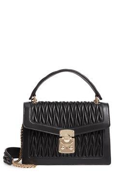2ff43a5511ca Miu Miu Confidential Matelassé Quilted Lambskin Leather Top Handle Bag