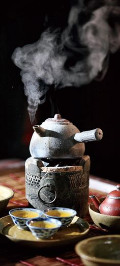 Part of tea ceremony, a clay antique oven for boiling water.
