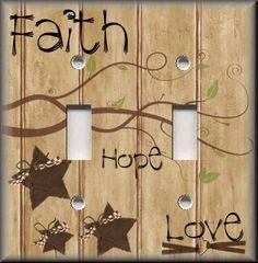 http://stores.ebay.com/Luna-Gallery-Switch-Plates Light Switch Plate Cover - Faith Hope Love - Primitive Home Decor - Barn Stars