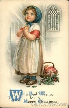 ❤ Vintage Greeting Card Art Poster Print! ☮~ღ~*~*✿⊱╮ レ o √ 乇 !! - Children by Ellen Clapsaddle - Christmas