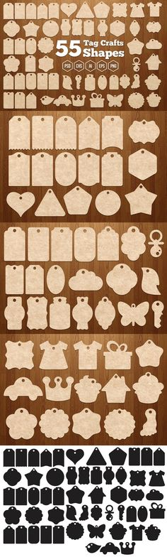 55 Tag Crafts Shapes. Photoshop Shapes. $7.00