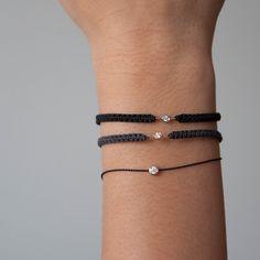 SALE Solo Diamond Bracelet on Cord adjustable bracelet Diamond Friendship Bracelet, Friendship Bracelets With Beads, Wish Bracelets, Diamond Bracelets, Jewelry Bracelets, Jewelery, Ankle Bracelets, Gold Jewellery, Silver Jewelry