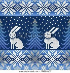 with penguins instead of the rabbits?seamless knitted pattern with snowflakes and rabbits Fair Isle Knitting Patterns, Fair Isle Pattern, Knitting Charts, Knitting Designs, Knitting Stitches, Knitting Projects, Crochet Chart, Crochet Patterns, Cross Stitch Embroidery