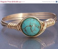 30 OFF Turquoise 14k Gold Filled Wire Wrapped Ring by AnjasArts, $10.50