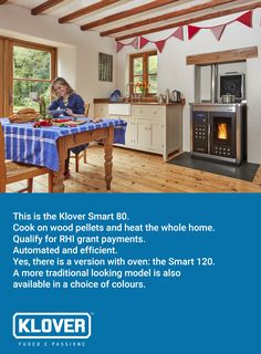 The Klover Smart 80 is an automated wood pellet boiler that will heat your whole house, provide hot water and let you cook too. It switches on and off automatically and qualifies for RHI grant payments. Click through to see the other models and to find out more.