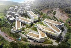 China-based firm PWD Architecture will soon break ground on Dali Creative Area, a mixed-use development in Dali City, in Yunnan province. Healthcare Architecture, Architecture Durable, A As Architecture, Sustainable Architecture, Sustainable Design, Habitat Collectif, Nachhaltiges Design, Mix Use Building, Green Building