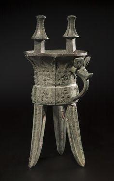 Wine Vessel- Jia, 1300-1100 BC                                                China, Shang dynasty (c.1650-c.1050 BC), Anyang period (c.1300-1045 BC)