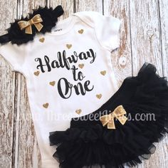 Halfway to One 6 Month Baby Girl Outfit | Tutu Bloomers | Opt Headband &…