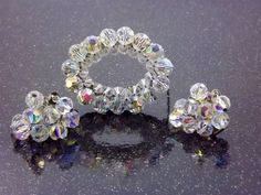 Crystal Bead Clip Earrings Brooch Aurora Borealis by STLvintage