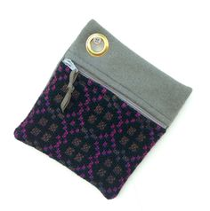 Vintage  Welsh Tapestry and Pure Wool Felt Zipped Case Grey Purple Black Pink Brown - Change, Keys, Lipstick, Travel Cards, Treats by didyoumakeityourself on Etsy