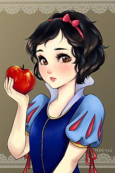 Princesas de Disney al estilo del anime japones Blancanieves