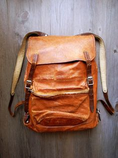Leather backpack.