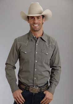 Stetson® Mens Grey Poplin Tiny Dots Print Long Sleeve Pearl Snap Western Shirt