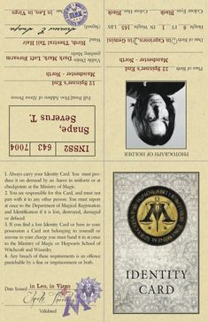 Ministry Of Magic ID -Information Page (example: Snape)