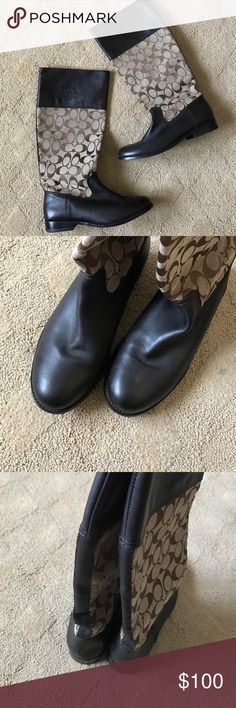 Coach Chrissi Boots Coach Chrissi Signature boots. Slip on with flat heel. Under the knee length. Excellent preowned condition. Purchased on posh but not the right fit for me, I prefer a zipper. Coach insignia on side. Very dark brown leather, almost black. Coach Shoes Winter & Rain Boots