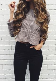 Outfit Ideas For Fall - Cropped but long enough to go to top of pants. Sweater but loose enough knit to breathe.
