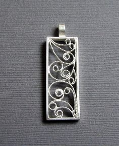 Silver Filigree Pendant Rectangle Pendant by CopperSpineStudio, $50.00