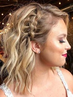 Prom Hairstyles For Short Hair, Side Braid Hairstyles, Pretty Hairstyles, Cute Hairstyles With Braids, Cute Medium Length Hairstyles, Wedding Hairstyles For Medium Hair, Summer Hairstyles, Braids For Medium Length Hair, Braids For Short Hair