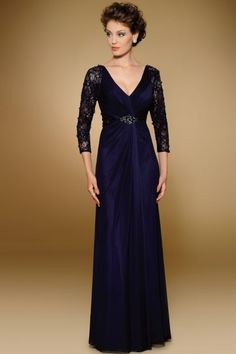Fancy V-neck 3/4-Length Sleeve Tulle A-line Floor-length Lace Mother of the Bride Dresses