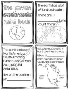 7 Continents Mini Book Black and White from Pioneer Teacher on TeachersNotebook.com -  (7 pages)  - 7 Continents Mini Book Black and White